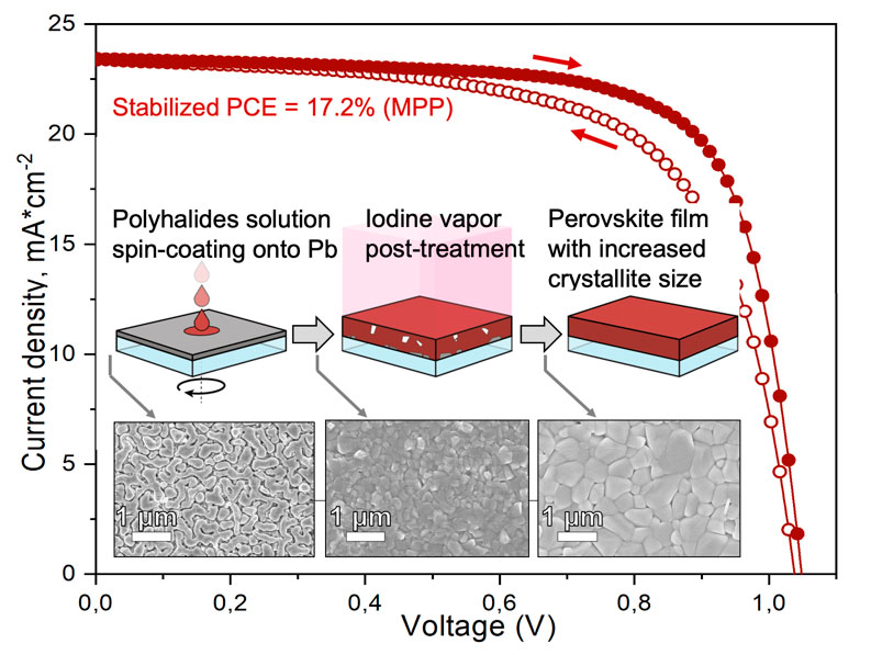 From metallic lead films to perovskite solar cells through lead conversion with polyhalides solutions