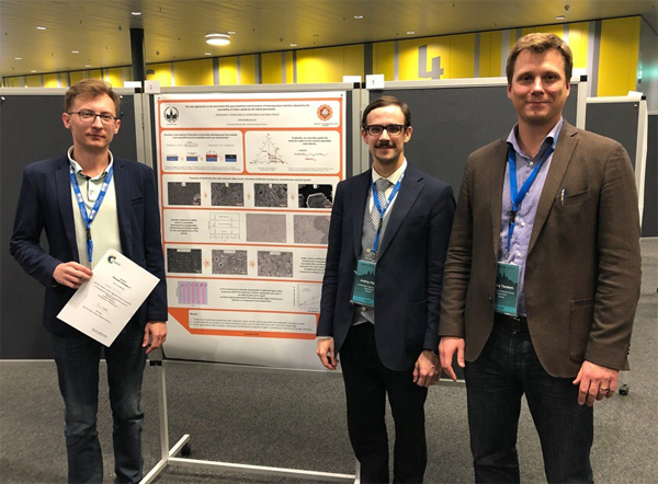 Jr. researcher Aleksei Grishko, jr. researcher Andrey Petrov, and head of the laboratory Alexey Tarasov at the conference PSCO-2018 (Lausanne, Switzerland)